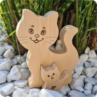 Katze mit Babykatze aus Zirbenholz Holztier